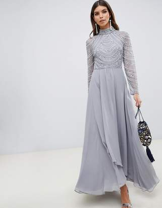 Asos Design DESIGN maxi dress with long sleeve embellished bodice