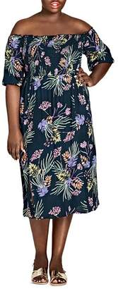 City Chic Plus Exotic Floral Off-the-Shoulder Midi Dress