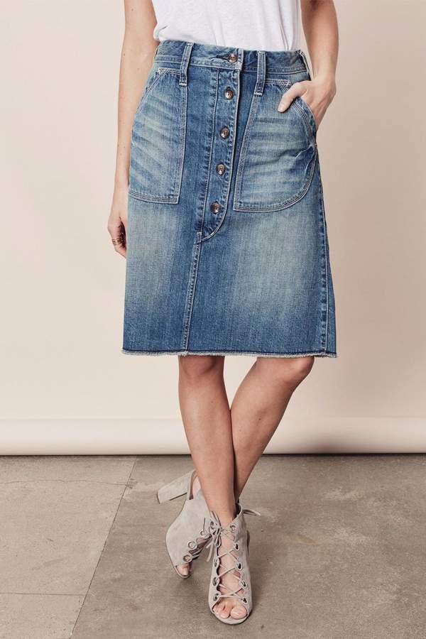 Love Stitch Lovestitch Button-Down Denim Skirt