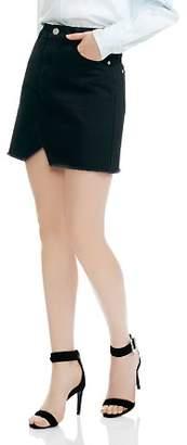 Maje Jeni Frayed Notched Cotton Mini Skirt