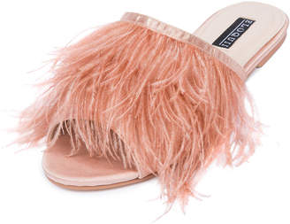 ELOQUII Kyle Marabou Feather Slide Sandal