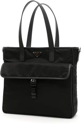 Prada Nylon And Saffiano Tote Bag b512e01417