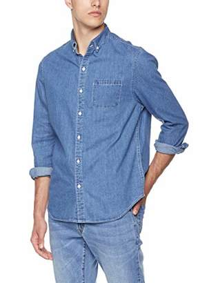 Trimthread Men's Sportswear Spread Collar Button-Front Slim 1 Pocket Chambray Denim Work Shirts (