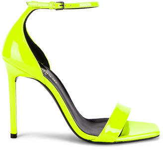 Saint Laurent Amber Ankle Strap Sandals in Fluo Yellow | FWRD