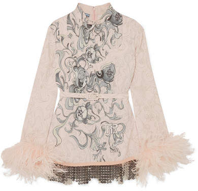 Prada - Feather-trimmed Embellished Printed Crepe Blouse - Pastel pink