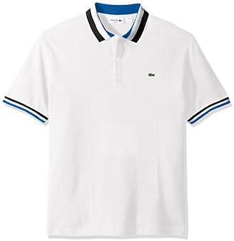 Lacoste Men's Short Sleeve Semifancy with Textured Stripe Collar Slim Polo
