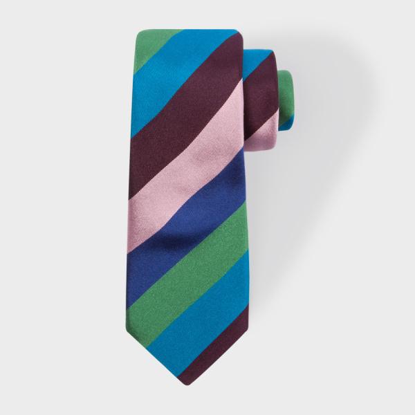 Paul SmithMen's Green Diagonal Stripe Narrow Silk Tie