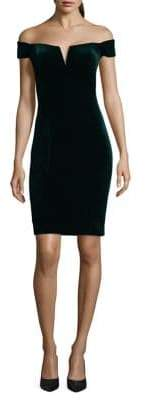 Xscape Evenings Off-the-Shoulder Sheath Velvet Dress