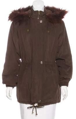 St. John Fur-Trimmed Hooded Jacket