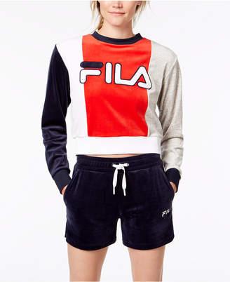 Fila Colorblocked Velour Cropped Sweatshirt
