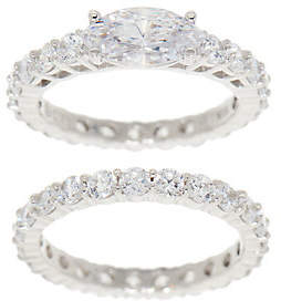 Diamonique East-West Eternity Band Ring Set,Sterling Silver