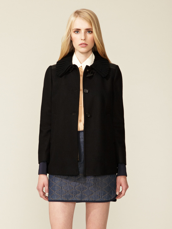 See by Chloe Leather Patch Short Wool Coat