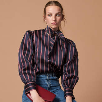 Sandro Striped shirt with bow at the neck