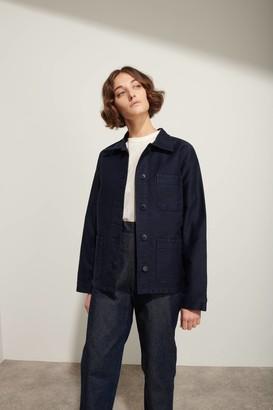 Le Mont St Michel Navy Cotton Moleskin Womens Genuine Work Jacket - 40 - Blue