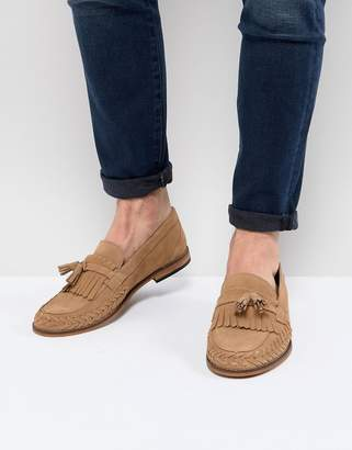 H By Hudson Alloa Suede Loafers In Beige