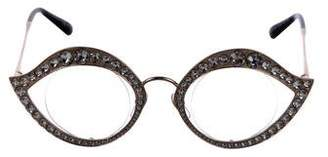 Gucci Crystal-Trimmed Metal Eyeglasses