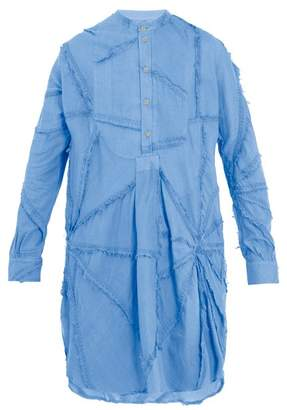 By Walid - Long Line Patchwork Cotton Shirt - Mens - Blue