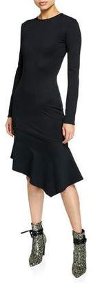 Black Halo Maddox Crewneck Long-Sleeve Crepe Dress w/ Asymmetric Hem