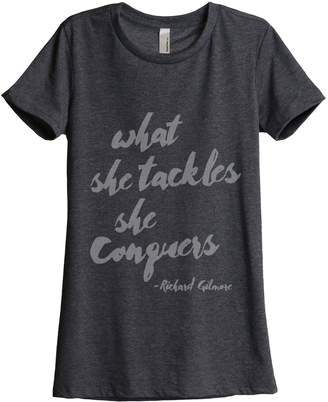 Thread Tank She Conquers Women's Relaxed T-Shirt Tee Grey 2X-Large
