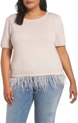 Halogen Ostrich Feather Hem Sweater
