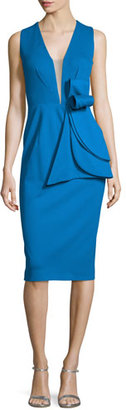 Jovani Sleeveless Deep-V Bow-Waist Cocktail Dress $560 thestylecure.com