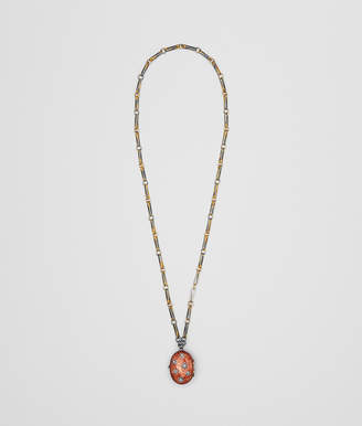 Bottega Veneta BROWN ANTIQUE SILVER STELLULAR NECKLACE