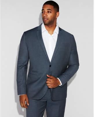 Express slim blue mini check wool suit jacket