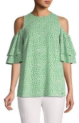 MICHAEL Michael Kors Butterfly-Print Cold-Shoulder Top