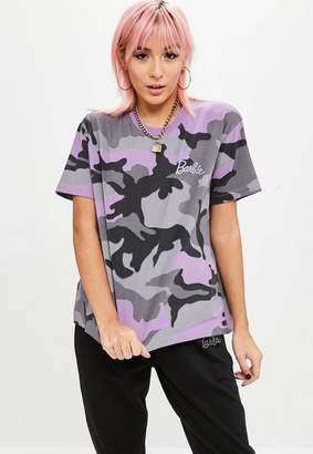 Missguided Barbie x Purple Camo T Shirt