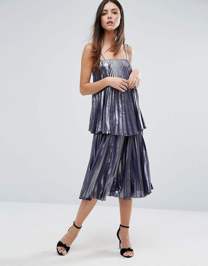 Warehouse Metallic Pleated Cami