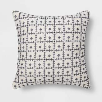 Threshold Embroidered Grid Square Throw Pillow Blue