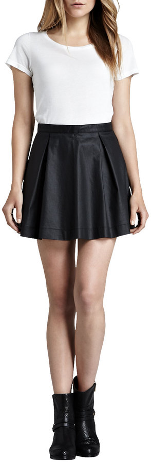 French Connection July Waxed Pleated Miniskirt
