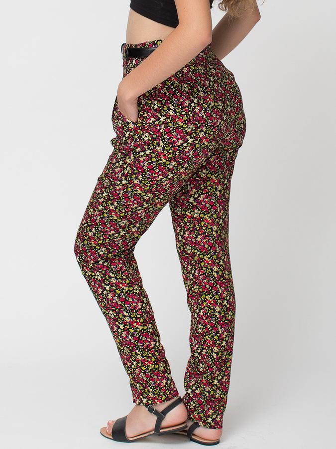 American Apparel Rayon High-Waist Pleated Pant