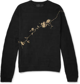 Haider Ackermann Oversized Embroidered Loopback Cotton-Jersey Sweatshirt