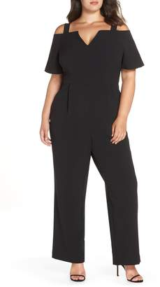 Eliza J Cold Shoulder V-Neck Jumpsuit