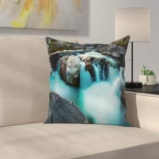 East Urban Home Waterfall Basalt Rocks Square Pillow Cover East Urban Home