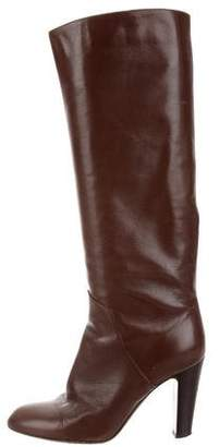 Sergio Rossi Leather Round-Toe Knee Boots