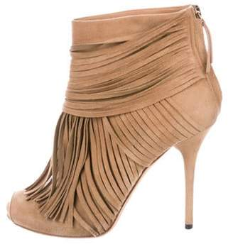 Gucci Fringed Suede Ankle Boots Tan Fringed Suede Ankle Boots