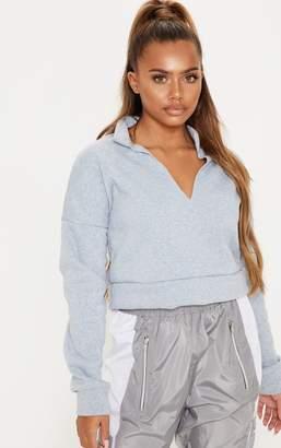 PrettyLittleThing Grey Collar Detail Crop Sweater