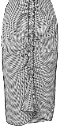 Jason Wu Ruched Gingham Crinkled Voile Skirt - Black