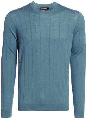 Emporio Armani Vertical Stitch Wool Crewneck Sweater