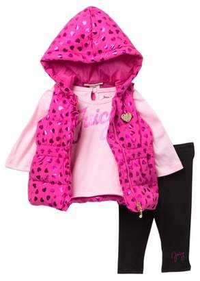 Juicy Couture Tee, Foil Heart Hooded Puffer Vest & Leggings Set (Baby Girls 12-24M)