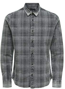 ONLY & SONS Acid-Wash Check Denim Button-Down Shirt