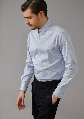 Giorgio Armani Slim Fit Shirt In Exclusive Yarn-Dyed Fabric
