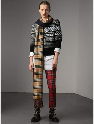 Burberry Fair Isle Cashmere Mohair Blend Patchwork Sweater