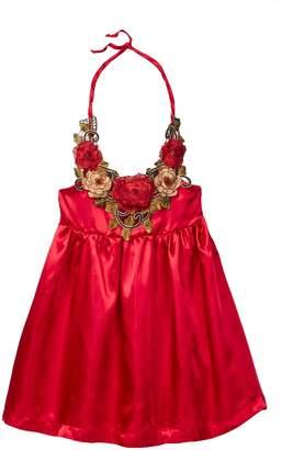 Paulinie Rose Trimmed Halter Dress (Toddler, Little Girls, & Big Girls)