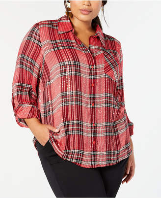 Style&Co. Style & Co Plus Size Sequined Plaid Shirt