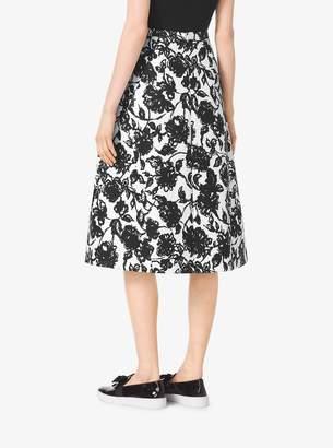 Michael Kors Brushstroke Floral Matelasse Skirt