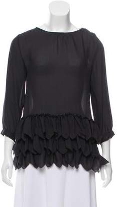 The Great Silk Ruffle-Accented Top