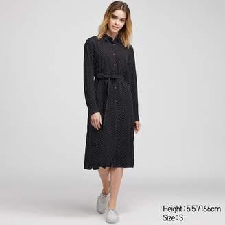 Uniqlo WOMEN Rayon Printed Long Sleeve Dress